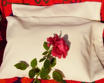 PILLOW CASE Hemp Organic Cotton Sateen Or Cream And Brown Ticking Toddler Travel Standard Queen King Body Euro USA Made
