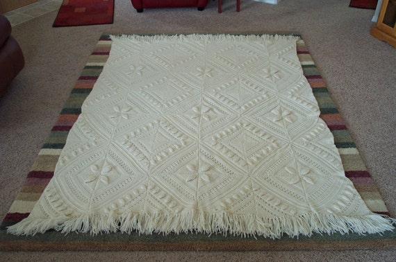 Stunning Hand-Crocheted 3-D Fringed Afghan