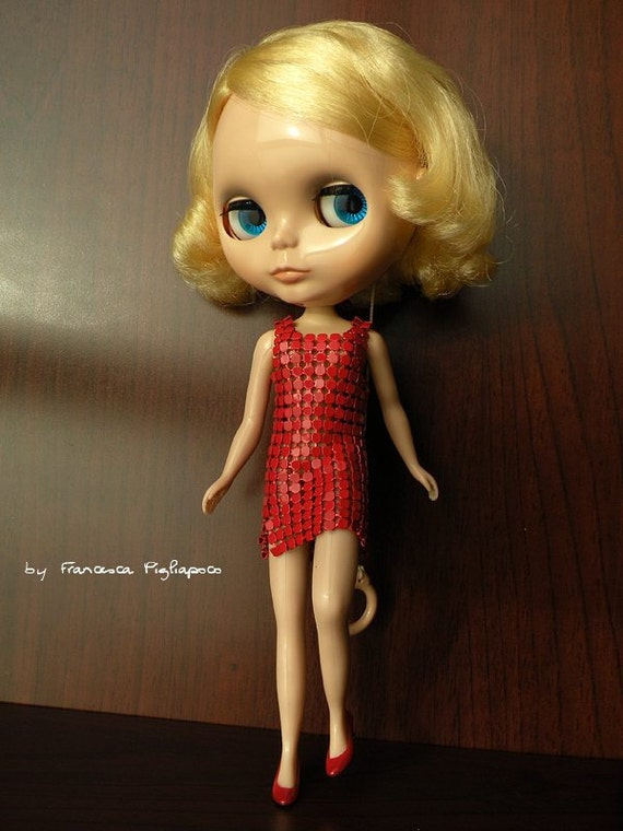 REDUCED - Red Mini - Metal Mesh dress for Blythe