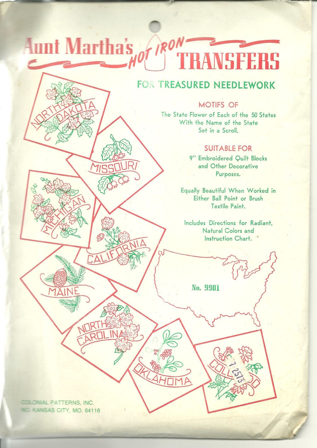 Vintage Aunt Martha S State Flowers Iron On Transfers