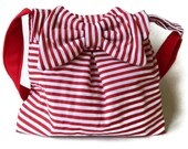Red and White Striped Mini Messenger Bag with a Bow