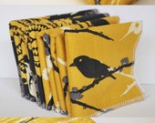 BABY SHOWER GIFT Set......Gorgeous mustard aviary cotton print blanket, washcloths and burp cloth set.  Great unisex gift