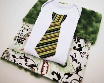 AYAAN BABY  GIFT Set ............Minky and satin baby blanket with  Green striped necktie appliqué bodysuit........ Great baby shower gift