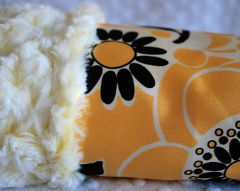 MINI BABY BLANKET / Lovey size / two toned minky with yellow floral print / sold out fabrics