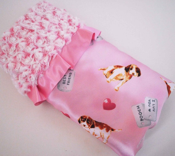 PIPER................Adorable pink satin  print with Two toned Pink minky Swirls and ruffled trim.......Limited Design BABY GIRL BLANKET