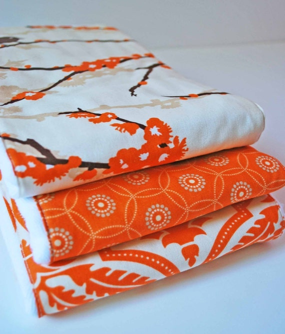 AVIARY ..........Set of (3) very ABSORBENT BURP cloths........out of  print 100% cotton fabric.......very handy baby gift