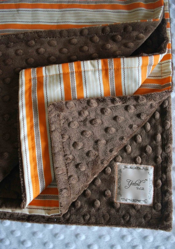 AIDEN BABY BLANKET........Orange stripes cotton fabric with chocolate brown minky dimples.......Luxury for boys