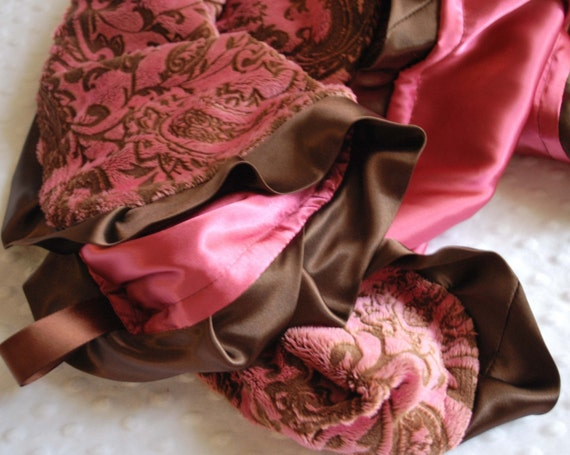 COURTNEY   on SALE .......... PINK AND CHOCOLATE BROWN EMBOSSED PAISLEY and  ROSE PINK CHARMEUSSE.......... BABY GIRL BLANKET