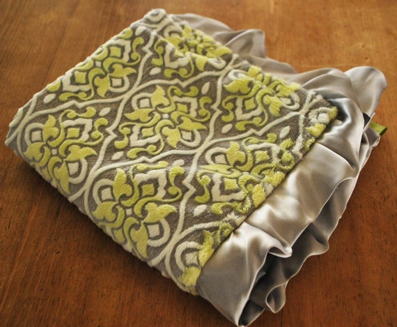 New Luxurious BLANKET...... Embossed green apple and gray minky with satin baby blanket with ruffles..........Comforting fabrics for baby