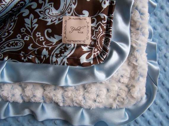 SHILOH....................CLASSIC BLUE AND BROWN PAISLEY WITH TWO TONED ROSEBUD MINKY BABY BOY BLANKET ........REALLY SOFT..ELEGANT AND COMFORTING