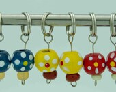 Three Color Wooden Beads Stitch Markers - Set of 6