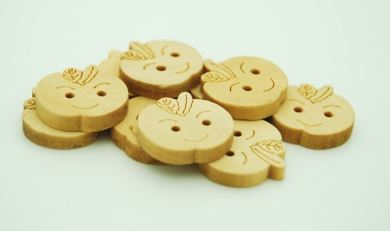 Wooden Apple Face Buttons - Set of 10