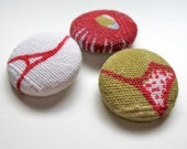 recycled fabric covered handmade buttons - mod flower design