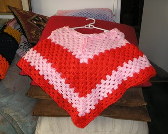 Pink and Red Poncho
