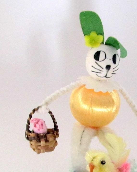 Vintage Easter Bunny Figure Table Decoration Easter Basket