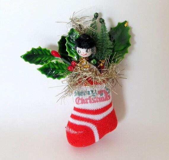 Sale Vintage Ornament Christmas Stocking Spun By Teresatudor