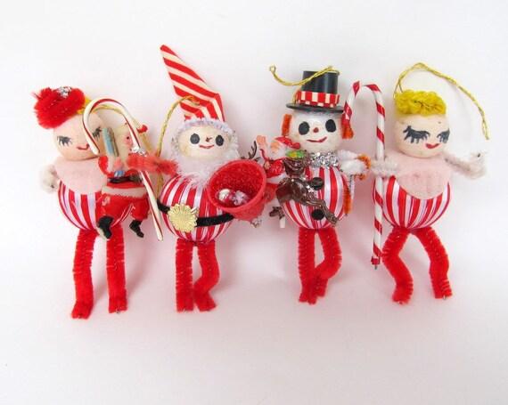 SALE Vintage Style Christmas Ornament Set of 4 Spun Cotton Santa, Girls, Snowman