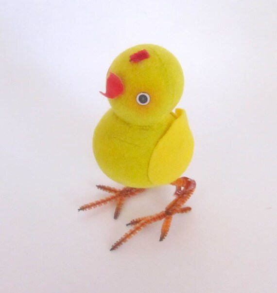 Vintage Flocked Chick Easter Decoration Made in Japan