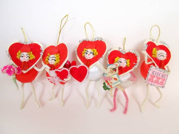 Vintage Valentines Day Ornaments Set of 5 Spun Cotton Heads Hearts