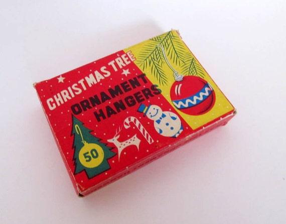 SALE Vintage Christmas Tree Ornament Hangers Original Box with Ornaments