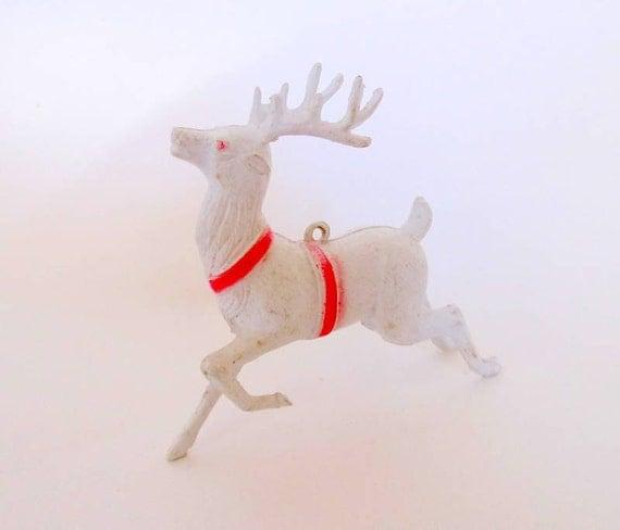 Vintage White Plastic Reindeer Ornament or Decoration