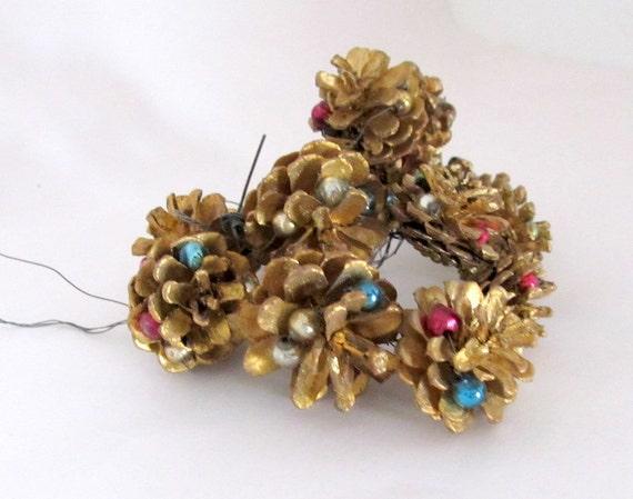 Vintage Christmas PineCone Picks Ornaments Set of 13 Pine cone Decorations
