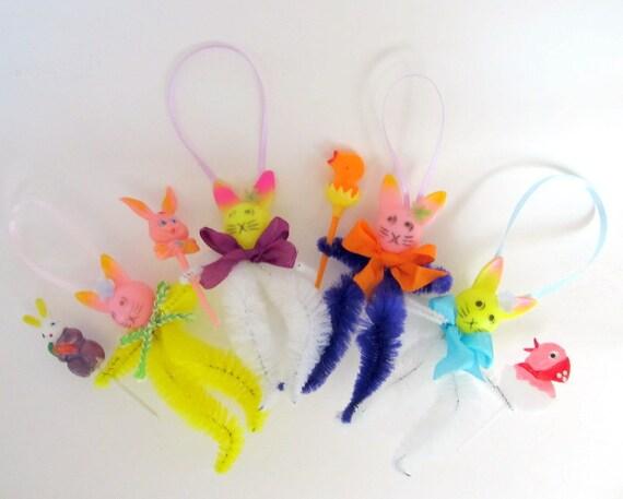 SALE Vintage Style Easter Ornaments Set of 4 Bunny Decoration