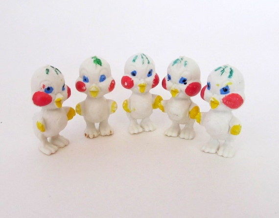 SALE Vintage Miniature Plastic White Easter Chick Duck Goodies Set of 5