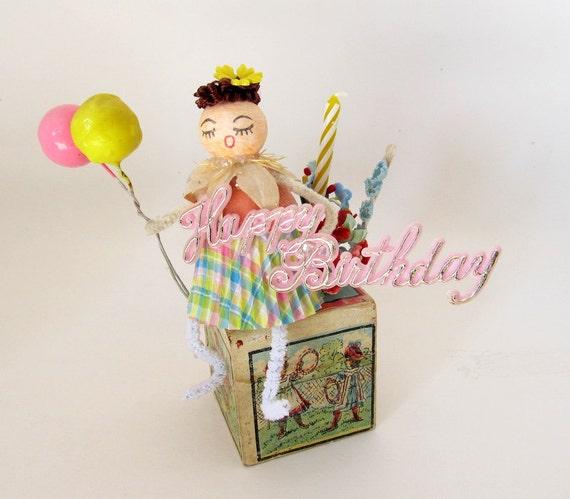 SALE Vintage Style Birthday Decoration Gift Spun Cotton Gal