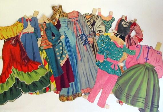 SALE Vintage Paper Doll Clothes Lot of 71 Pieces