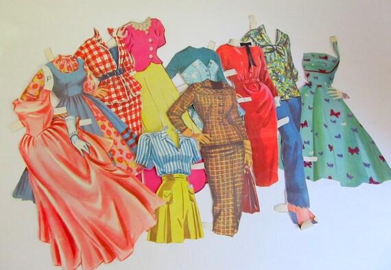 SALE   Vintage Paper Doll Clothes Lot of 79 Pieces