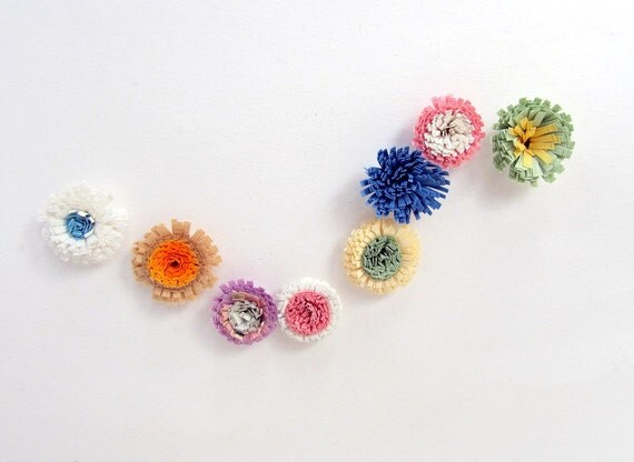 SALE Vintage Small Paper Flower Set of Eight