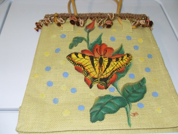 Burlap tote with handpainted butterfly and wooden handles