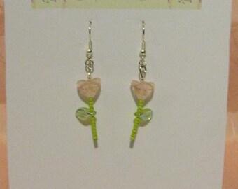 Clear Pink Flower, Green Leaf, Silver Tone Earrings