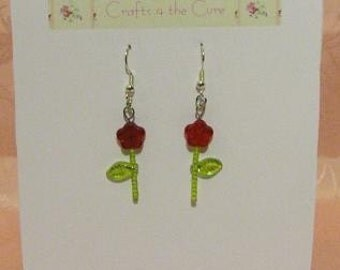 AB Red Flower, Green Leaf, Silver Tone Earrings