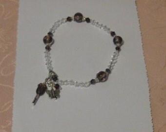 Vintage Purple Lampwork and Swarovski Crystal Stretch Bracelet