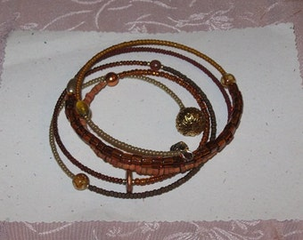 Earthy, Rust, Gold and Brown Beaded Large Memory Wire Bracelet