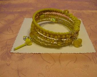 Vintage Yellow Czechoslovakian Flower,Beaded Memory Wire Bracelet