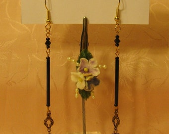 Gold tone, Filigree, Black Bugle Bead, Heart and Swarovski Crystal Earrings