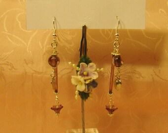 Vintage Purple Flower and Heart Earrings
