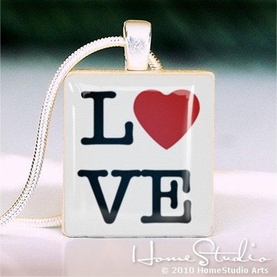 HOMESTUDIO - - - - Scrabble Tile Pendant - LOVE TYPE
