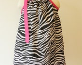 Boutique Zebra and Pink Pillowcase Dress - Ready to Ship Size 3T 4T - SALE