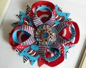 Cat in the Hat Boutique Hair Bow Rhinestone Button Center Dr. Seuss