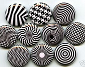 OP ART 10 one inch pinback/badges/buttons   trippy mod psychedelic patterns far out