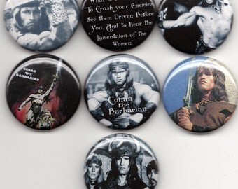 CONAN 7 pins/buttons/badges D&D/barbarian/punk/metal