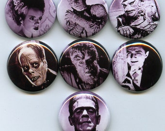Monsters 7 one inch pinback/badges/buttons  Famous creature feature classic horror movies