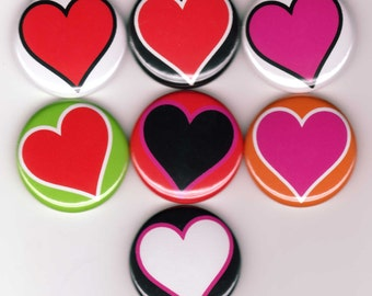 Hearts 7 one inch pinback/badges/buttons  Valentines day Love