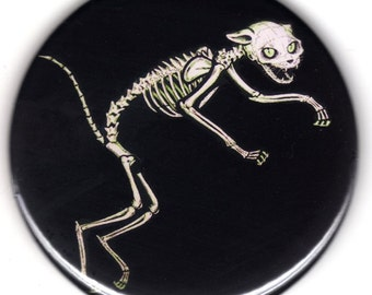 Black cat Skeleton 2.25 big pinback button Gothic Halloween kitty