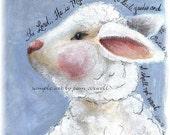 8x10 Lamb Print - I Shall Not Want - Psalm 23