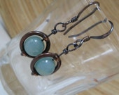 Rustic Earrings Amazonite Gemstone and Antiqued Copper